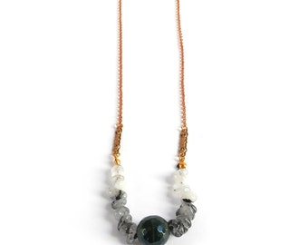 New Moon Necklace - Green Agate and Quartz