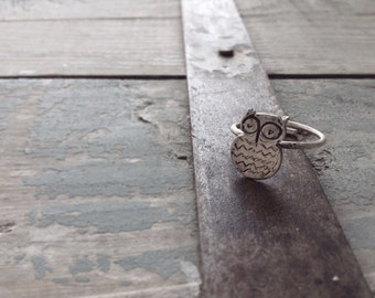 Sterling silver Owl ring Adjustable ring -Animal jewelry-Bird owl jewelry-Owl jewelry-Gift for teenager