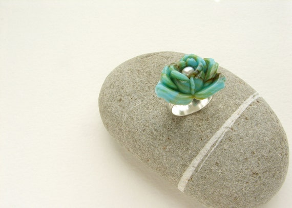 Vintage glass rose ring, seafoam marbled glass lotus cameo, cocktail ring, statement ring