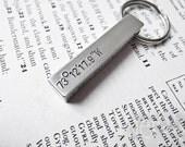 Chunky Stamped Aluminum Aluminium Bar Keychain Keyring, Latitude Longitude Coordinates - Gift for Him or Her, Love Boyfriend Girlfriend