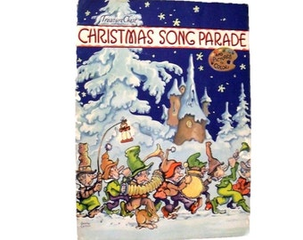 Christmas Song Parade - 1938 - Music and coloring book - Christmas decor -  il. by George Carlson