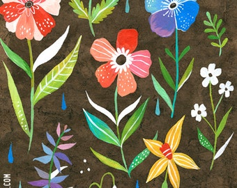 Botanical Poster art print | Katie Daisy Painting