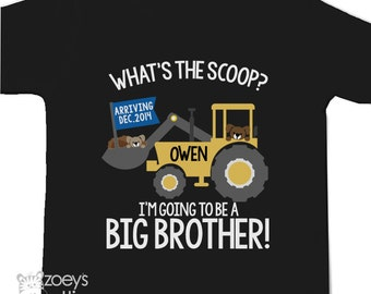 Big brother to be shirt construction digger what's the scoop pregnancy announcement DARK Tshirt - construction big brother DARK t-shirt