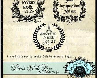 Christmas Gift Tags, Eiffel Tower Printable Tags, Joyeaux Noel Printable Tags, Scrapbook Embellishments, Gift Tags, Ephemera