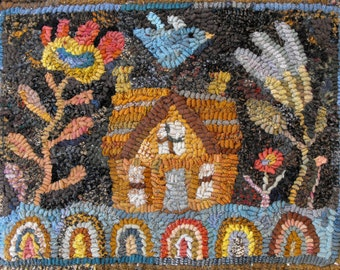 Simple House Pattern PDF for rug hooking and punchneedle embroidery//floral//bird