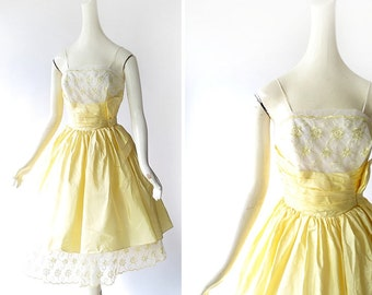 Vintage 1950s Dress / Bouton D'Or Dress / 50s Dress / 1950s Party Dress / XXS XS
