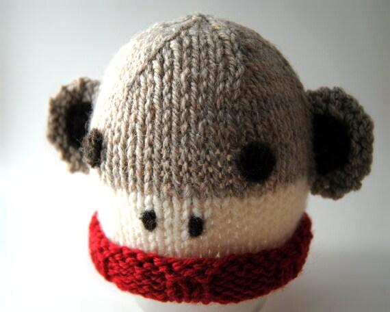 Wool Baby Sock Monkey Hat, Wool Sock Monkey Beanie