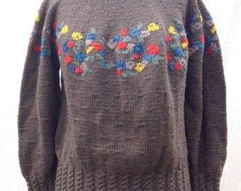 Vintage Hand Knit Sweater // Uruguay // Bright Wool