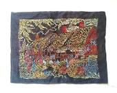 Vintage handmade embroidery cottage garden on black silk. English. Circa 1970