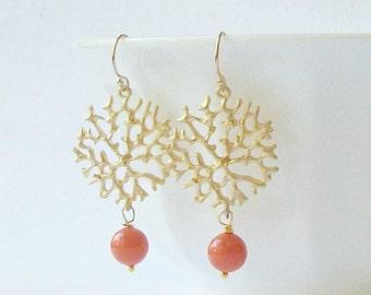 Coral Pearl Dangle Earrings