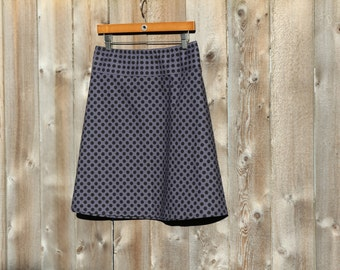 Black and Gray Polka Dot A-Line Skirt, Ta Dot in Ebony, Simple A-line Skirt, Hip Sizes 30-56 inches