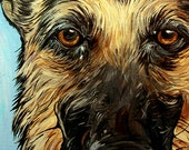 GERMAN SHEPHERD dog art print blue tennis ball 5x7