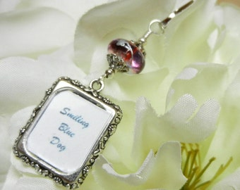 Wedding bouquet photo charm. Memorial photo charm. Bridal bouquet charm with small picture frame. Red wine & silver bead. Gift for her.
