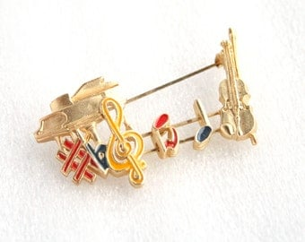 Musical Instruments Brooch Vintage Colorful Enamel Music Slide Figural Pin Notes Piano Treble Clef Bass