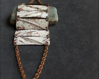 White-wash Chain Statement Bracelet Fold Formed Copper Rustic Wide Panels Tribal Metalwork Patina Boho Jewellery