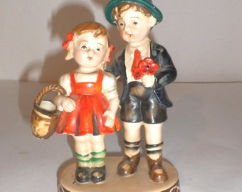 Vintage Figurine - Boy and Girl Hummelesque Figurine - Made In Occupied Japan - Collectible Figurine - Home Decor - Shelf Decor