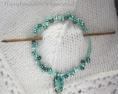 Teal Beaded Shawl Pin with Glass Leaf, Beaded Shawl Pin, Beaded Teal Scarf Pin