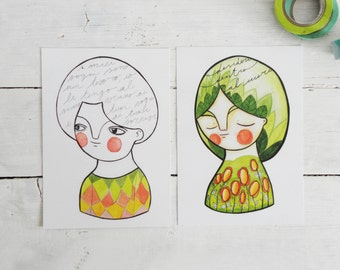 Postcards set, green collection, illustrated cards