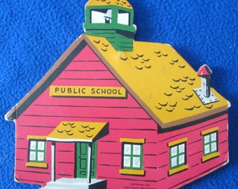 Little Red School House Wall Plaque Walt Disney Productions 1951 Nursery Picture