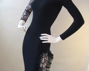 AMAZING Vintage 80's/90'S Black Body Con Dress with Lace Cut-Outs!
