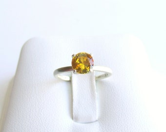 Yellow Sapphire Ring Sterling Silver Made To Order