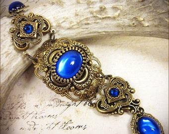 Sapphire Blue Renaissance Bracelet, Medieval Jewelry, Tudor Costume, Garb, Royal, Queen, Alternative Bride, Renaissance Wedding, Canter