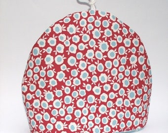 Celia Birtwell Posh Dots / Pop Check - Red Tea Cosy / Tea Pot Cozy - Ditsy flowers - Red , white and blue