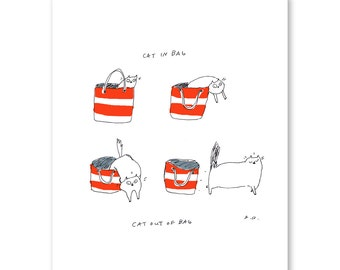 Cat in Bag, Cat Out of Bag- Cat Art- Cat Print- Nantucket- Large Art Print- Illustration- Funny Cat Art