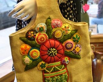 Flower Pattern Stitched Design Burlap Medium Size Tote