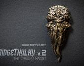 Cthulhu Fridge Magnet v2 - Brass/Bronze - Lovecraft inspired Tentacle Magnet - Fridgethulhu - Refrigerator