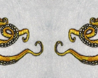 Small  Pair Octopus Iron on Patch in Yellow