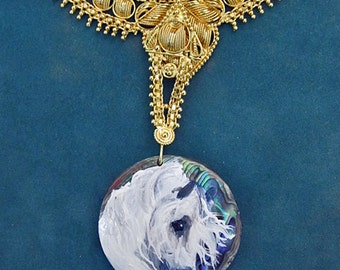 Andalusian horse art hand painted necklace Nancy