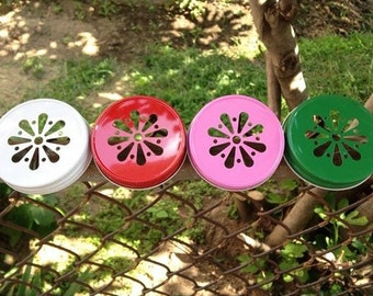 6 Daisy Cut Out Mason Jar Lids - 13 Different Color Options