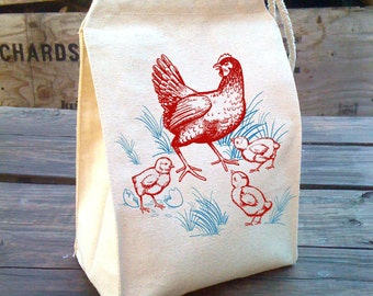 Kids Lunch Bag, Chicken Lunch Bag, urban farming design, Recycled Cotton Canvas Snack sack rope handle, velcro and blue red french inspired