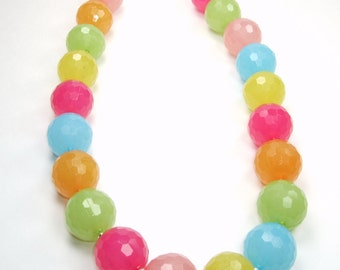 Sorbet Collection-Large Beaded Statement Necklace Multicolor Faceted Bright Pastel Beaded Bright Soft Colorful Silver Bib Bold Necklace