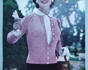 Vintage 1940s 1950s Knitting Pattern Womens Cardigan with yoke neckline  40s 50s original pattern Marriner's No. 336