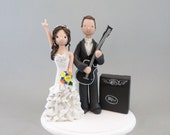 Wedding Cake Topper - Personalized Bride & Groom with a Guitar