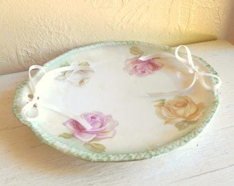 Vintage Porcelain Plate Cut-Out Edge with Ribbon Decorative Roses Made in Germany