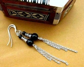 Long Black Earrings. Downton Abbey Edwardian Style. Onyx & Chain. Midnight in Dublin