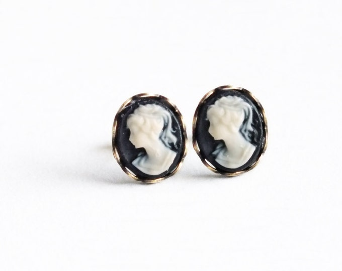 Black Cameo Studs Small Vintage Victorian Cameo Post Earrings Hypoallergenic