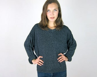 Grey Slouchy Ribbed 90's Sweater