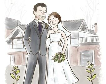Custom Portrait Couple (Cute soft style + bg) -  Custom anniversary gift, Custom portrait illustration, Custom Wedding illustration