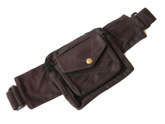 unisex canvas utility belt brown 3 pockets by earthcultured