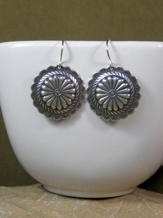 Silver Earrings - Southwest Earrings - Concho Earrings - Dangle Earrings - Native Earrings - Bohemian Gypsy