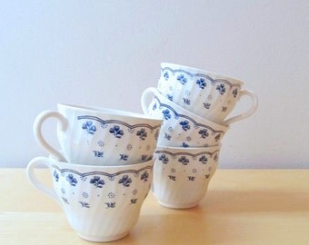 blue and white teacups authentic english ironstone clover pattern
