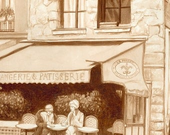 coffee art, Parisian Cafe, painted using only coffee, Paris, cafe, cafe society, sidewalk cafe, outdoor cafe