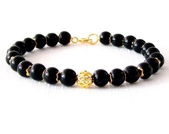 Gold Gemstone Bracelet - Obsidian - Black, Gold - The Stoned: Speckled Filigree 6mm Round