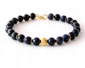 Gold Gemstone Bracelet - Dumortierite - Dark Navy Blue, Gold - The Stoned: Speckled Filigree 6mm Round