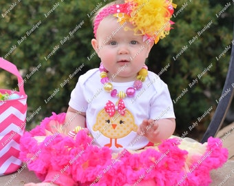 Easter Baby Chick Yellow and Pink Embroidered Shirt 0-3,  3-6, 6-12, 12-18, 18, 24 month 2T 4T 6T