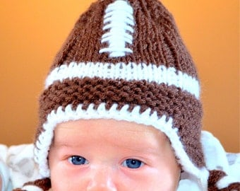 Newborn Football Hat All Sizes, Earflap Football Hat